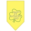 Mirage Pet Products Happy St. Patricks Day Rhinestone Bandana Yellow Large