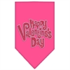 Mirage Pet Products Happy Valentines Day Rhinestone Bandana Bright Pink Large