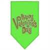 Mirage Pet Products Happy Valentines Day Rhinestone Bandana Lime Green Large