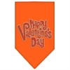 Mirage Pet Products Happy Valentines Day Rhinestone Bandana Orange Large