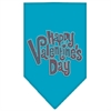 Mirage Pet Products Happy Valentines Day Rhinestone Bandana Turquoise Large