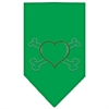 Mirage Pet Products Heart Crossbone Rhinestone Bandana Emerald Green Large