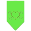 Mirage Pet Products Heart Crossbone Rhinestone Bandana Lime Green Large