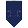 Mirage Pet Products Heart Crossbone Rhinestone Bandana Navy Blue large