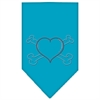 Mirage Pet Products Heart Crossbone Rhinestone Bandana Turquoise Large