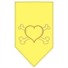 Mirage Pet Products Heart Crossbone Rhinestone Bandana Yellow Small