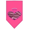 Mirage Pet Products Zebra Heart Rhinestone Bandana Bright Pink Large