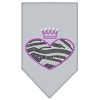 Mirage Pet Products Zebra Heart Rhinestone Bandana Grey Large