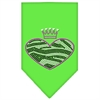 Mirage Pet Products Zebra Heart Rhinestone Bandana Lime Green Small