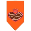 Mirage Pet Products Zebra Heart Rhinestone Bandana Orange Small
