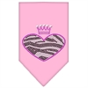 Mirage Pet Products Zebra Heart Rhinestone Bandana Light Pink Small