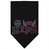 Mirage Pet Products Peace Love Hope Breast Cancer Rhinestone Pet Bandana Black Size Large