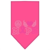 Mirage Pet Products Peace Love Hope Breast Cancer Rhinestone Pet Bandana Bright Pink Size Large