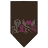 Mirage Pet Products Peace Love Hope Breast Cancer Rhinestone Pet Bandana Cocoa Size Large