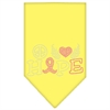 Mirage Pet Products Peace Love Hope Breast Cancer Rhinestone Pet Bandana Yellow Size Small