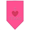 Mirage Pet Products I Heart Texas Rhinestone Bandana Bright Pink Small