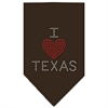 Mirage Pet Products I Heart Texas Rhinestone Bandana Cocoa Large