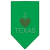 Mirage Pet Products I Heart Texas Rhinestone Bandana Emerald Green Large