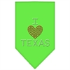 Mirage Pet Products I Heart Texas Rhinestone Bandana Lime Green Large