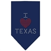 Mirage Pet Products I Heart Texas Rhinestone Bandana Navy Blue Small