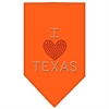Mirage Pet Products I Heart Texas Rhinestone Bandana Orange Small