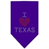 Mirage Pet Products I Heart Texas Rhinestone Bandana Purple Large