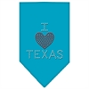Mirage Pet Products I Heart Texas Rhinestone Bandana Turquoise Small