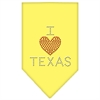 Mirage Pet Products I Heart Texas Rhinestone Bandana Yellow Large