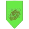Mirage Pet Products I'm Too Sexy Rhinestone Bandana Lime Green Large
