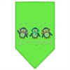 Mirage Pet Products Let It Snow Penguins Rhinestone Bandana Lime Green Small