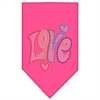 Mirage Pet Products Technicolor Love Rhinestone Pet Bandana Bright Pink Size Large