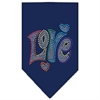 Mirage Pet Products Technicolor Love Rhinestone Pet Bandana Navy Size Large