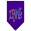 Mirage Pet Products Technicolor Love Rhinestone Pet Bandana Purple Size Large