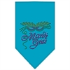 Mirage Pet Products Mardi Gras Rhinestone Bandana Turquoise Large