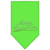 Mirage Pet Products Merry Christmas Rhinestone Bandana Lime Green Large