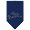 Mirage Pet Products Merry Christmas Rhinestone Bandana Navy Blue large