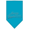 Mirage Pet Products Merry Christmas Rhinestone Bandana Turquoise Small