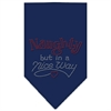Mirage Pet Products Naughty but in a Nice Way Rhinestone Bandana Navy Blue Small