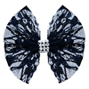 Mirage Pet Products Hair Bow Lace and Crystals French Barrette Black