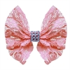 Mirage Pet Products Hair Bow Lace and Crystals French Barrette Light Pink