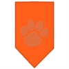 Mirage Pet Products Paw Clear Rhinestone Bandana Orange Large