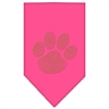 Mirage Pet Products Paw Gold Rhinestone Bandana Bright Pink Small