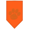 Mirage Pet Products Paw Gold Rhinestone Bandana Orange Large
