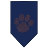 Mirage Pet Products Paw Orange Rhinestone Bandana Navy Blue large