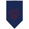 Mirage Pet Products Paw Red Rhinestone Bandana Navy Blue Small