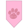 Mirage Pet Products Paw Red Rhinestone Bandana Light Pink Large