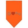 Mirage Pet Products Peace Love Bone Rhinestone Bandana Orange Large