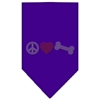 Mirage Pet Products Peace Love Bone Rhinestone Bandana Purple Large