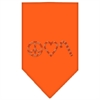 Mirage Pet Products Peace Love Candy Cane Rhinestone Bandana Orange Small