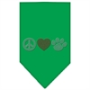 Mirage Pet Products Peace Love Paw Rhinestone Bandana Emerald Green Small